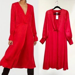 H&M Red Jacquard Weave Faux Wrap Red Maxi Dress
